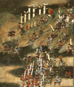 The Battle of Nagakute, part of the war between Ieyasu and Hideyoshi. Ieyasu would win this battle fairly handily, but the decision by Oda Nobukatsu to break their alliance and make a separate peace would force him to settle his differences and abandon his challenge to the Toyotomi family -- at least for now.