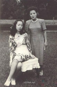 Yamaguchi Yoshiko with Zhang Ailing (better known in the US as Eileen Chang), one of the most famous writers of modern China. Zhang was forced to flee China after the rise of the Communists.
