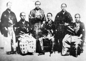 Members of the crew of the Kanrin Maru. Fukuzawa is sitting on the far right.