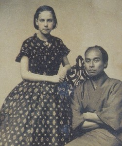 Fukuzawa and the daughter of the photographer, 1860. Fukuzawa used this photo to brag to his companions about what a charming man he was, and how well he understood Western civilization. Even at the end of his life this was apparently still one of his favorite stories to tell.