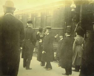 Ito disembarking at Harbin. This photo was taken seconds before Ito was shot by An Jung-geun (who is outside of the frame of this image). Courtesy of Dr. Kenneth Pyle.