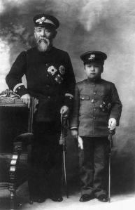 Ito Hirobumi and Crown Prince Yi of Korea. Ito believed very strongly that his presence could help remake Korea in the image of Meiji Japan. It was a dream that was unrealistic at best and which died with him.