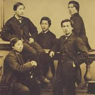 The Choshu Five, samurai sent to study in the UK in 1862 at University College, London.  From left to right: Inoue Kaoru, Endo Kinsuke, Inoue Maoru, Yozo Yamao, and Ito Hirobumi. Courtesy of University College, London.