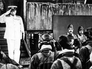 The last photo ever taken of Yamamoto alive, just prior to when he boarded the plane that he would be shot down in.
