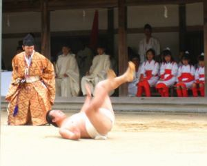 Hitorizumo is a folk tradition in Mie prefecture where a sumo wrestler fights the invisible spirit of a rice plant in order to ensure a good harvest. Right now I guess the rice plant is giving him a run for his money. No, I will not put pictures of the Kanamara-matsuri on the site.