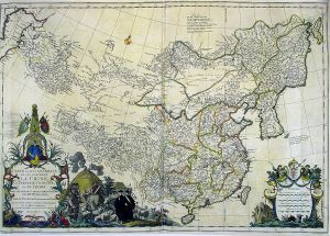 "A map of ""Chinese Tartary,"" China, and Tibet by a French cartographer, dated 1734."