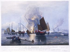 The HMS Nemesis destroying Chinese war junks during the First Opium War (1839-42). The utter superiority of Western weaponry and military training undermined the authority of the Qing Dynasty, starting it on a slow death spiral.