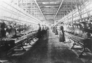 Factories like this one would have extremely harsh working conditions, with some running shifts as long as 14 hours a day. Women dominated textile plants like this one, providing around 3/4ths of the workforce. Courtesy of Kyoto Prefecture.