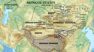 This map shows the various mongol principalities from the 14th to 18th centuries. The Dzunghar Khanate is in the center.