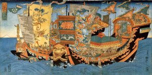 Xu Fu's fleet on its second expedition. This later rendering is from the Qing Dynasty.