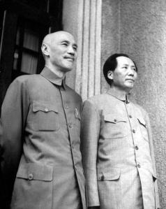 Chiang Kai-shek and Mao Zedong. The alliance between these two men served to temporarily halt China's ongoing civil war in the name of national unity, but the end of the fighting brought a rapid breakdown of their relationship. This photo is from the final full year of that alliance in September, 1945.