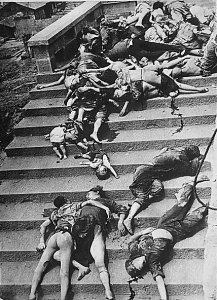 Though the war in China stalled out strategically in only a few years, that did not mean that massive suffering did not continue. Air raids on the Chinese wartime capitol of Chongqing were constant; these civilians were casualties of one of those raids.
