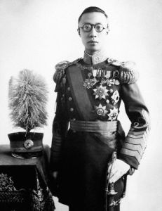 Pu Yi as Emperor of Manchukuo, c. 1940. The military uniform is reminiscent of the one the Showa Emperor (Hirohito) would wear during public appearances.