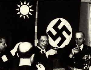 Wang Jingwei greets Nazi diplomats on an official state visit, 1941.