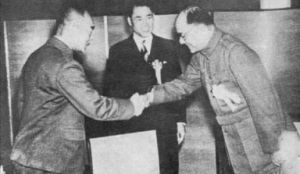 Wang Jingwei (center) looks on as Subhas Chandra Bose and Hideki Tojo meet for the first time.
