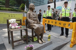 The statue set up across from the Japanese embassy in Seoul. The Japanese have requested it be taken down several times. The Seoul government has refused.