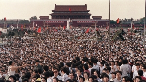 The democracy protests in Tiananmen, c. May, 1989.