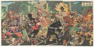 """The Battle of Yamazaki. By defeating and killing Mitsuhide Akechi, Hideyoshi received a great deal of political clout for """"avenging his master"""", which he was able to parlay into political influence."""