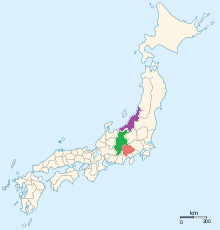 The provinces of the Takeda and Uesugi -- Kai Province (Takeda) in Red, Echigo (Uesugi) in Purple, Shinano (the buffer province over which they fought) in green.
