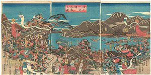 An Edo era depiction of the confrontation between Shingen and Kenshin at the fourth battle of Kawanakajima.