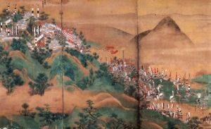 The Battle of Shizugatake saw Hideyoshi defeat his old friend Shibata Katsuie, who killed himself after the battle. From this point on Hideyoshi's control of Japan was uncontested until his death.