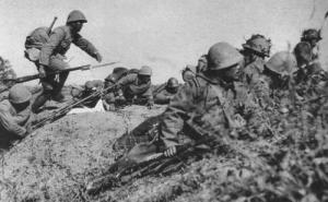 "Japanese troops training in Manchuria, c. 1938. Japanese army training was harsh in the extreme, designed to toughen up soldiers for the rigors of combat. It also contributed to extremely high levels of psychological stress which may have been a contributing factor to the psychological ""snapping"" of Japanese occupation troops."