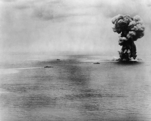 The Yamato explodes during her sinking.