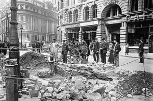 Damage from a German Zeppelin raid against London, c. 1917.
