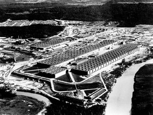 The massive K-25 Plant at Oak Ridge, the facility which enriched the uranium used for the Hiroshima bomb.