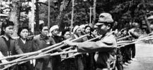 Japanese civilians were organized into civil defense corps and armed with primitive weapons like bamboo spears in preparation for the invasion of Kyushu. Civilians were under orders to resist at all costs and to try to take as many Americans as possible with them. Again (thankfully) how many Japanese actually would have done this and how effective it would have been remains an open question.