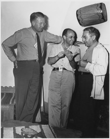 From left to right: Ernest O. Lawrence, Enrico Fermi, and Isidor Rabi during their time working on the Manhattan Project.