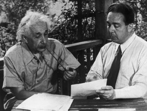 Albert Einstein and Leo Szilard prepare the Einstein-Szilard letter to President Roosevelt, warning of the dangers of the German atomic program.