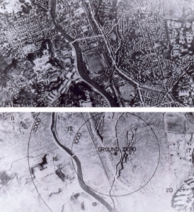 Downtown Nagasaki before and after the dropping of the bomb.