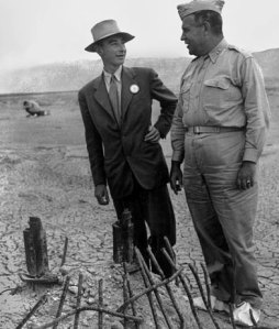 Oppenheimer (left) and Groves (right) at the site of the Trinity detonation a few days later, because nobody really understood radiation poisoning in 1945.