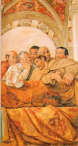 Hasekura Tsunenaga (in white) depicted in a fresco at the Qirinal Palace.