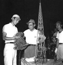 Honda Ishiro (left) on the set of the original Godzilla.