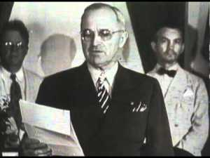 "Harry S. Truman announces the unconditional surrender of Japan, August 15, 1945. His views on the bomb appear somewhat conflicted; while he always defended its use in public in private he expressed some reservations about its power and after August 10, 1945 he called a halt to all further uses of the weapon. According to witnesses, he said he didn't feel comfortable ""killing all those kids."""