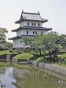 "Matsumae Castle in Hokkaido. The Matsumae family was given responsibility for ""managing"" the Ainu, and thus were among the first to encounter the Russians."