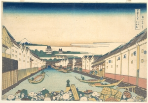 A View of Mt Fuji from Nihonbashi, from Hokusai's 36 Views of Mt. Fuji. Nihonbashi remains at the heart of modern Tokyo. Edo saw explosive growth over the course of Tokugawa rule, going from an unknown fishing village to the largest city on earth in 150 years.