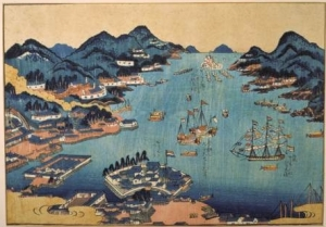 During the Edo Period, Nagasaki remained the only point of contact between the Japanese and the West. A Dutch mission there was confined to the island of Deshima, with the exception of semi-regular expeditions to Edo to pay homage to the shogun. Here we see a Dutch ship entering Nagasaki bay; Deshima is the outcropping in the lower half of the image.