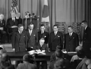 Yoshida signing the US-Japan Mutual Security Treaty on September 8, 1951. The same day, Yoshida signed the Treaty of San Francisco formally ending the Occupation and WWII.
