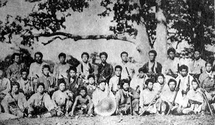 The development of Hokkaido was a priority for Meiji leaders who wanted to secure the island against Russian aggression. Huge numbers of samurai, mostly from Tokugawa-aligned families, were moved north to the island with offers of land grants. Groups like this one discovered up on their arrival that the work was difficult, dangerous, and that more often than not these development projects would fail. In the end, however, they did secure the island for Japan, and Russia never made a serious attempt to claim it.