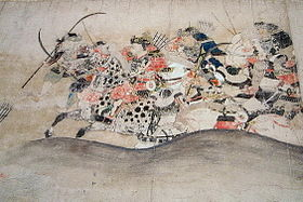 A Muromachi-era depiction of the Minamoto warriors during the Later Three Years War (Gosannen Senso).