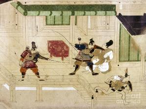 Minamoto warriors during the coup slaying their political opponents.