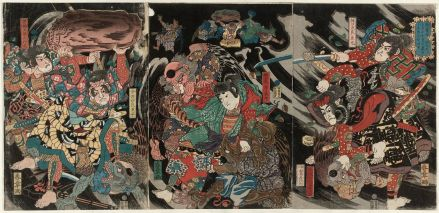 Tales of this time period were popular subjects of pop culture during the Edo period, and characters from the time were inserted in other stories as well. Here, Minamoto no Yoshinaka and his allies fight a group of tengu, long nosed winged mythical creatures.