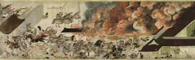The final attack on the fortified Minamoto. Though the attempt to use fire to drive the Minamoto out would fail, Taira subterfuge would eventually win the day.