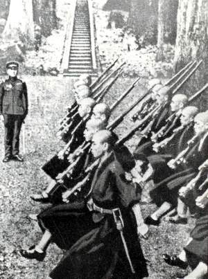 Buddhist monks practice military drill in the 1930s under the gaze of an army officer. By the 1930s, Buddhism had effectively been militarized to support Japan's wars abroad.
