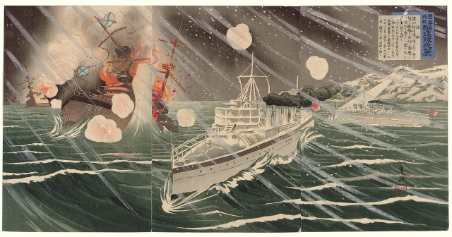 shinohara_kiyooki_-_1904_-_a_righteous_war_to_chastise_the_russians_the_destroyer_forces_night_attack_cho_ro_gisen_kichiku_tai_yashu