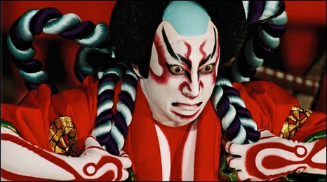 The makeup in kabuki is exaggerated both for the effect of its imagery and in some cases to obscure the gender of the actor.
